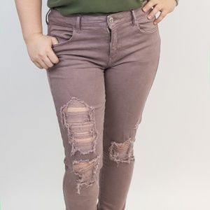 American Eagle Distressed Lavender Skinny Jeans